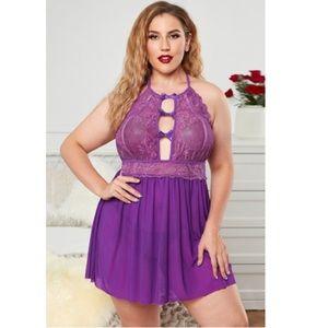 Plus Size Purple Halter Neck Lace Mesh Babydoll